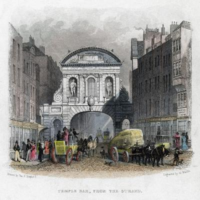 Temple Bar, from the Strand, London, 1829-W Wallis-Giclee Print