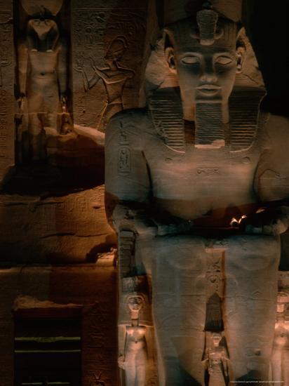 Temple Facade Details, Colossal Figures of Ramses II, New Kingdom, Abu Simbel, Egypt-Kenneth Garrett-Photographic Print