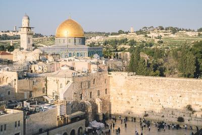 Temple Mount, Dome of the Rock, Redeemer Church and Old City in Jerusalem, Israel, Middle East-Alexandre Rotenberg-Photographic Print