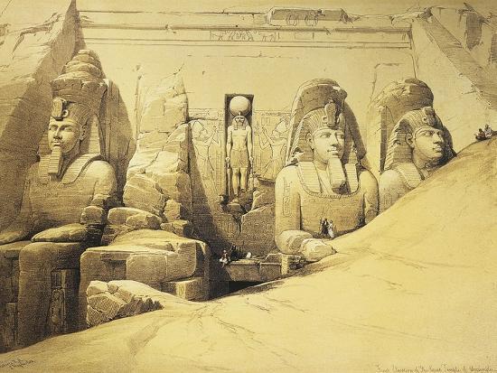 Temple of Abu Simbel, 13th Century Bc, Façade, Egypt, Lithograph, 1838-9-David Roberts-Giclee Print