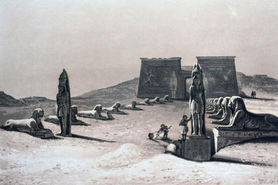 Temple of Asseboua, Nubia, Egypt, 19th Century-Hector Horeau-Giclee Print