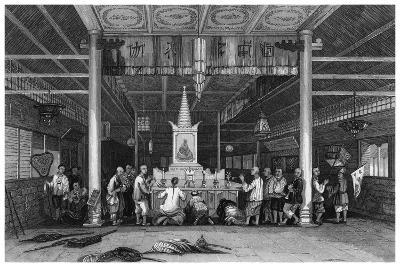 Temple of Buddha, Canton, China, 1843-WH Capone-Giclee Print
