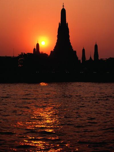 Temple of Dawn, Wat Arun, at Sunset, Bangkok, Thailand-Richard Nebesky-Photographic Print