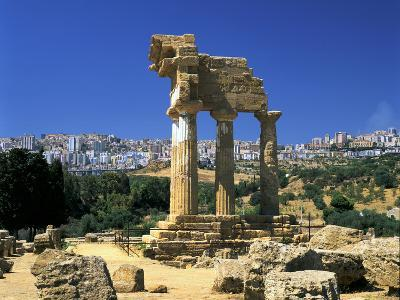 Temple of Diosuri, Agrigento, Sicily, Italy. Agrigento Town Behind-Peter Thompson-Photographic Print