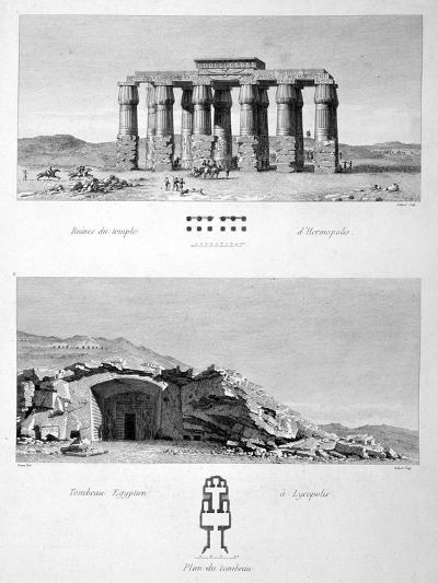 Temple of Hermopolis and Egyptian Tombs of Lycopolis, 1802-Vivant Denon-Giclee Print