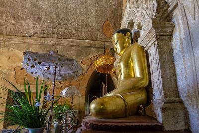 Temple of Htilo Milo, Dated 13th Century, Sitting Buddha Statue, Bagan (Pagan), Myanmar (Burma)-Nathalie Cuvelier-Photographic Print