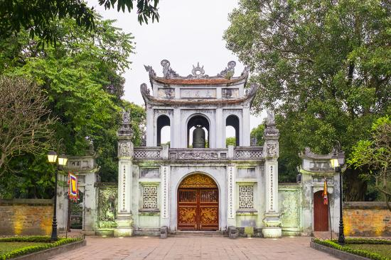 Temple of Literature Gate at Dusk, Dong Da District, Hanoi, Vietnam, Indochina, Southeast Asia-Jason Langley-Photographic Print