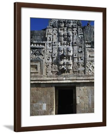 Temple on the Upper Part of the Pyramid of the Magician, Archaeological Site of Uxmal--Framed Photographic Print