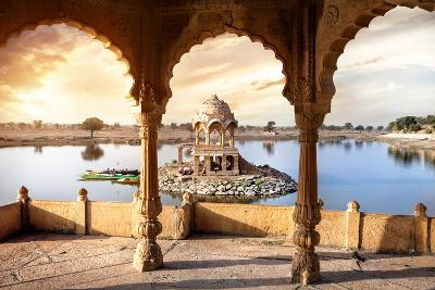 Temple on the Water in India-Marina Pissarova-Photographic Print