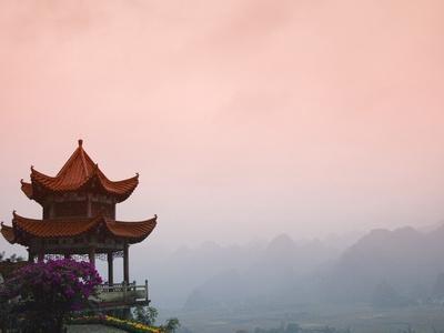 Temple Pavilion with Karst Hills in Mist-Keren Su-Photographic Print