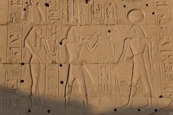Temple Relief and Hieroglyphics, Karnak, Luxor, Egypt-Peter Adams-Photographic Print
