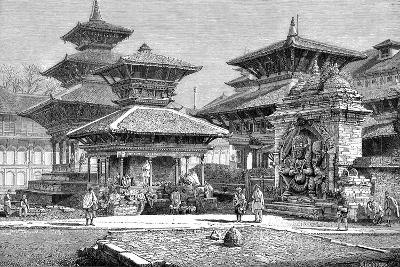 Temples Facing the Royal Place, Katmandu, Nepal, 1895--Giclee Print