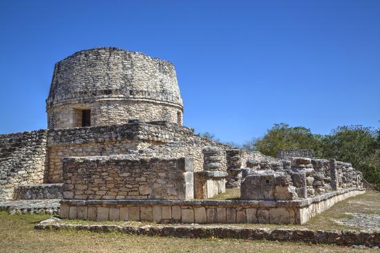 Templo Redondo (Round Temple), Mayapan, Mayan Archaeological Site, Yucatan, Mexico, North America-Richard Maschmeyer-Photographic Print