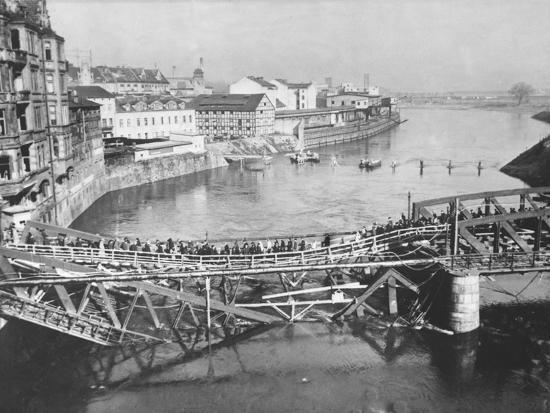 Temporary Bridge at Poznan, Poland, 1939--Photographic Print