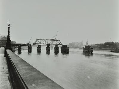 Temporary Bridge over the River Thames Being Dismantled, London, 1948--Photographic Print