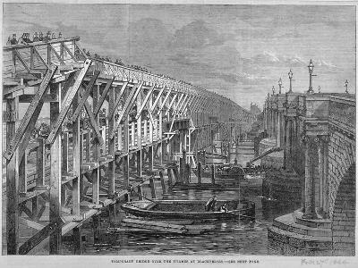 Temporary Wooden Bridge over the River Thames at Blackfriars, London, 1864--Giclee Print