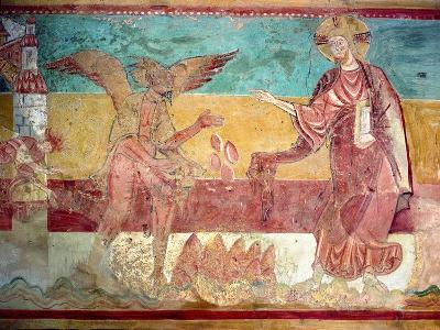 Temptation of Christ in the Desert by the Devil, 12th Century (Fresco)-French-Giclee Print