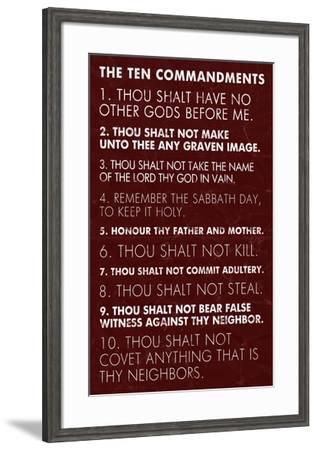 Ten Commandments - Red Grunge-Veruca Salt-Framed Art Print