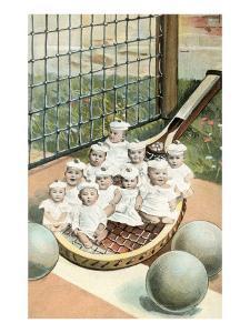 Ten Tiny Babies on Tennis Racket