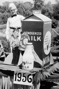 Ten Year Old Boy Rides on a Parade Float Promoting Milk in Wisconsin, Ca. 1956