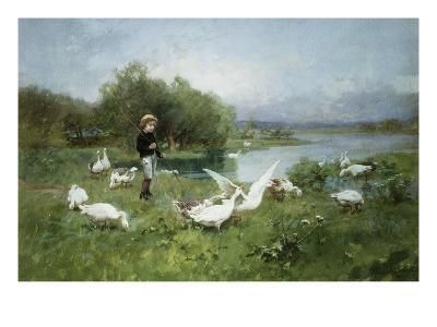 Tending the Geese-Luigi Chialiva-Giclee Print