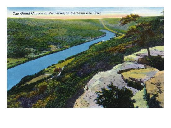 Tennessee - Aerial View of the Grand Canyon of Tn and the Tennessee River, c.1944-Lantern Press-Art Print