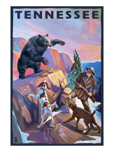 Tennessee, Bear Hunter with Dogs-Lantern Press-Art Print