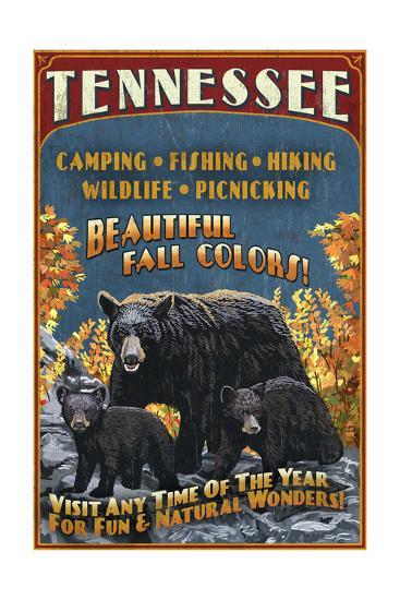 Tennessee - Black Bears Vintage Sign-Lantern Press-Art Print