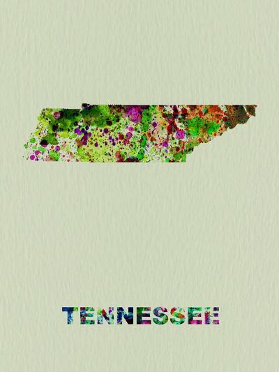 Tennessee Color Splatter Map-NaxArt-Art Print