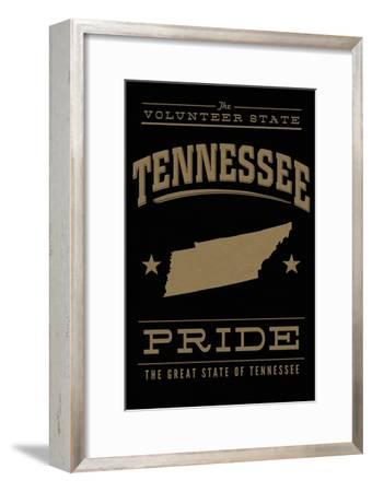 Tennessee State Pride - Gold on Black-Lantern Press-Framed Art Print