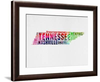 Tennessee Watercolor Word Cloud-NaxArt-Framed Art Print