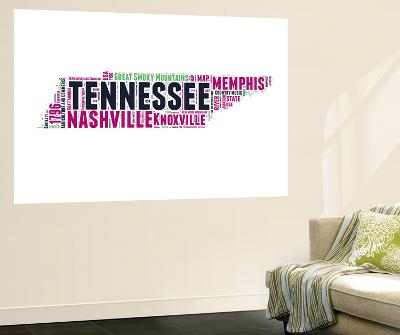 Tennessee Word Cloud Map-NaxArt-Wall Mural