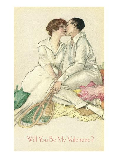 Tennis Couple Kissing, Valentine's Day--Art Print