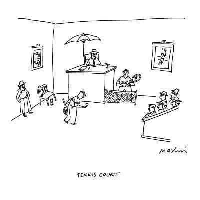 Tennis Court - Cartoon-Michael Maslin-Premium Giclee Print