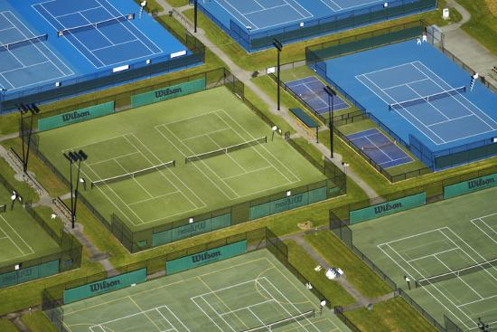 Tennis Courts, Albany, Auckland, North Island, New Zealand-David Wall-Photographic Print