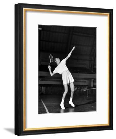Tennis Player Althea Gibson, Serving the Ball While Playing Tennis-Gordon Parks-Framed Premium Photographic Print