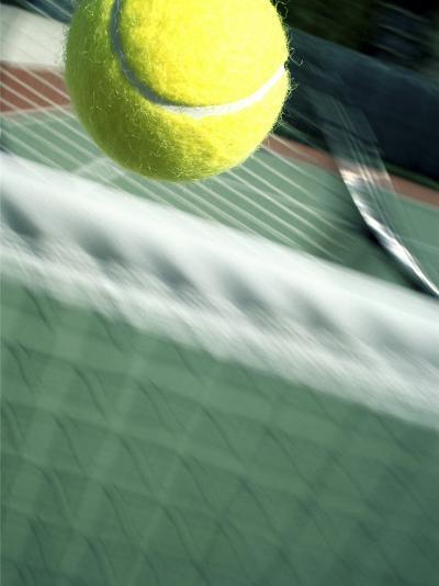 Tennis Racquet, Ball and Net--Photographic Print