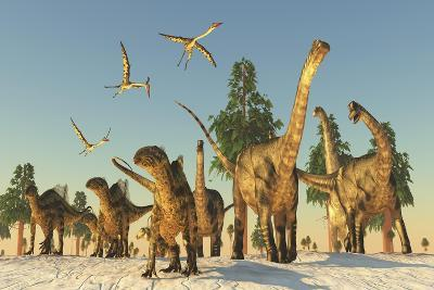 Tenontosaurus and Argentinosaurus Dinosaurs Migrating in Search of Water-Stocktrek Images-Art Print