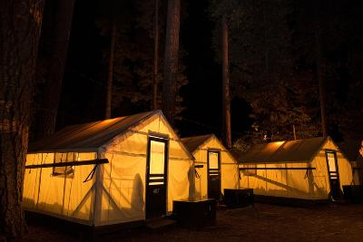 Tent Cabins Glow at Curry Village in Yosemite National Park-Dmitri Alexander-Photographic Print
