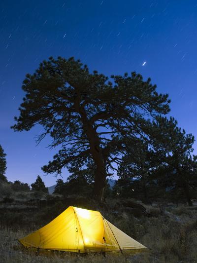 Tent Illuminated Under the Night Sky, Rocky Mountain National Park, Colorado, USA-Christian Kober-Photographic Print