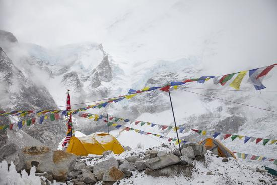 Tents and Prayer Flags at Base Camp-Max Lowe-Photographic Print