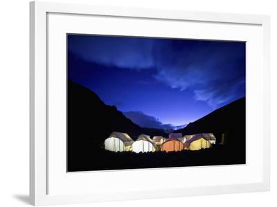 Tents Illuminated in a Valley at Night; Tso Moriri Ladakh India-Design Pics Inc-Framed Photographic Print