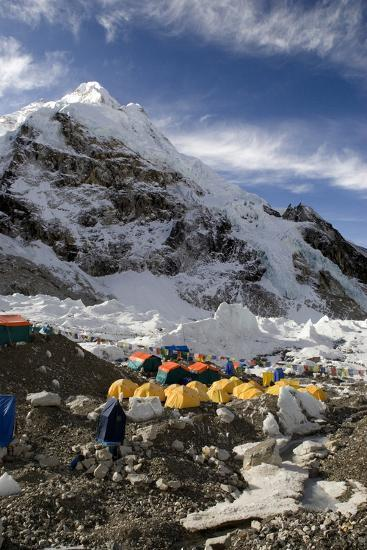 Tents of Mountaineers Scattered Along Khumbu Glacier, Base Camp, Mt Everest, Nepal-David Noyes-Photographic Print