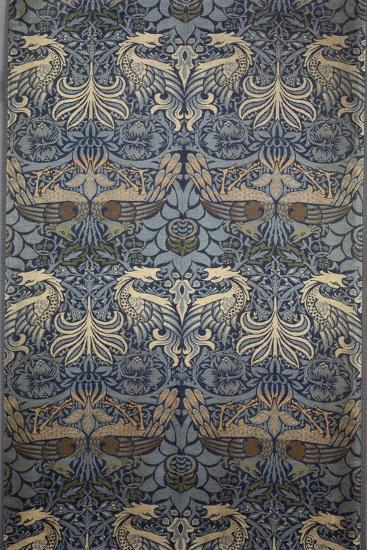 Tenture Peacock-William Morris-Stretched Canvas Print