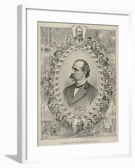 Terence Powderly and 32 Portraits of Leaders of the Knights of Labor, 1880s--Framed Art Print