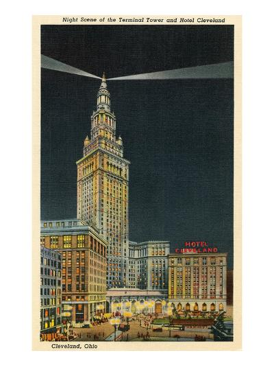 Terminal Tower, Hotel Cleveland, Night--Art Print