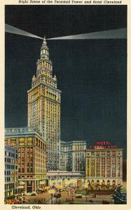 Terminal Tower, Hotel Cleveland, Night