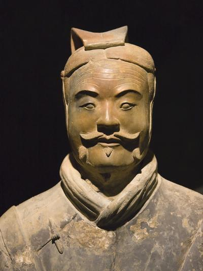 Terra cotta warrior with color still remaining, Emperor Qin Shihuangdi's Tomb, Xian, Shaanxi, China-Keren Su-Photographic Print