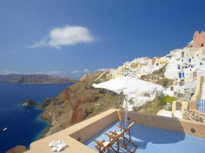 Terrace in Oia, Santorini, Cyclades, Greek Islands, Greece, Europe-Papadopoulos Sakis-Photographic Print