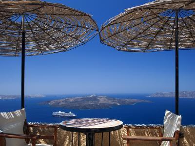 Terrace Overlooking the Caldera, Santorini, Cyclades, Greek Islands, Greece, Europe-Sakis Papadopoulos-Photographic Print